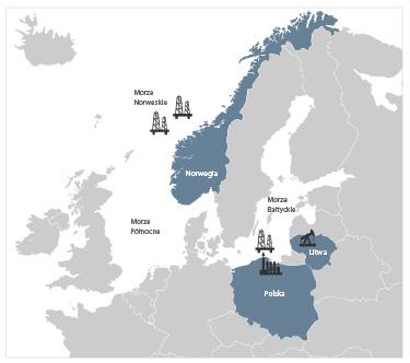 Terytorialny zasięg Grupy Kapitałowej LOTOS