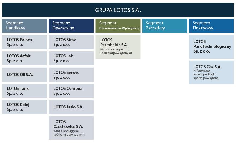Schemat obrazujący segmenty działalności<br /> Stan na 31.12.2012 r.